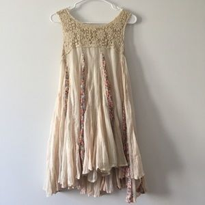 FP One Boho Flowy Trapeze Tank Top Floral Cream